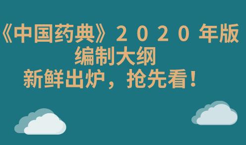 《中国药典》2020年版编制大纲新鲜出炉,抢先看!