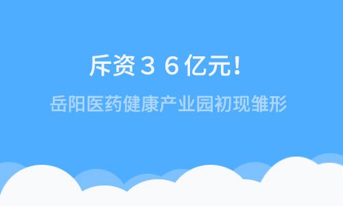 斥资36亿元!岳阳医药健康产业园初现雏形